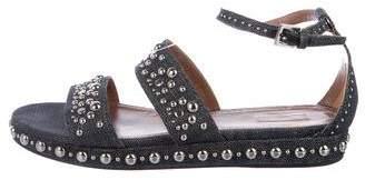 Alaia Denim Ankle Strap Sandals