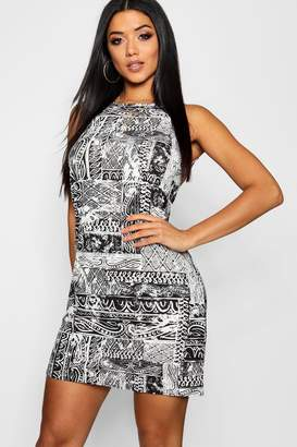 boohoo Mono Print 90's Neck Mini Dress