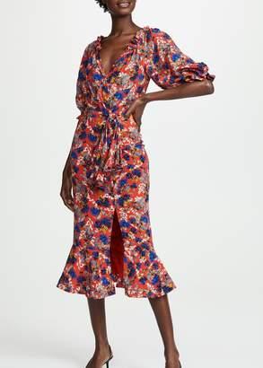 Saloni Olivia Dress In Flame Azalea