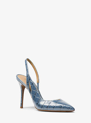 Michael Kors Eliza Crocodile-Embossed Leather Pump