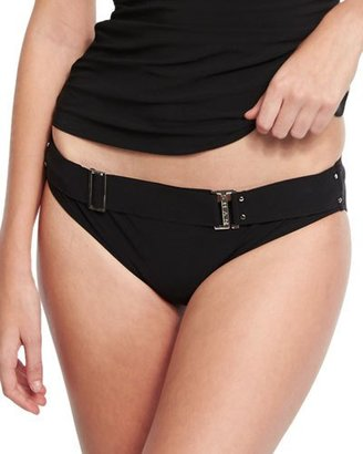 Shan Bright Like A Diamond Belted Swim Bottom, Black $125 thestylecure.com