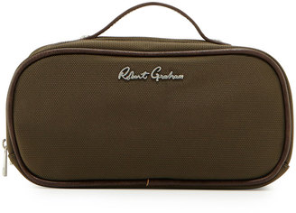 Robert Graham Faux-Leather-Trim Nylon Toiletry Bag, Olive $45 thestylecure.com