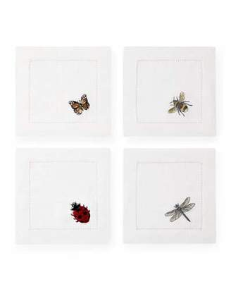 Sferra Embroidered Insects Cocktail Napkins, Set of 4