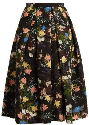 Erdem Ina Mariko Meadow Print Matelasse Skirt - Womens - Black Print