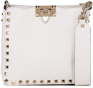 Valentino Rockstud Mini Hobo Bag in Bianco Ottico | FWRD