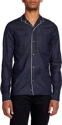 Valentino Men's Piped Cotton/Linen Shirt