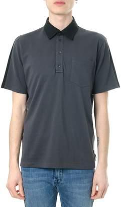 Fendi Grey & Black Cotton Polo Shirt