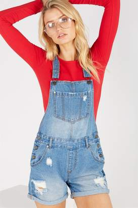 Supre Distressed Rolled Hem Denim Dungaree
