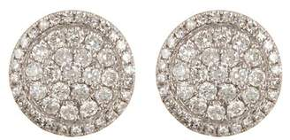 Ron Hami 14K White Gold Pave Circle Stud Earrings - 0.55 ctw