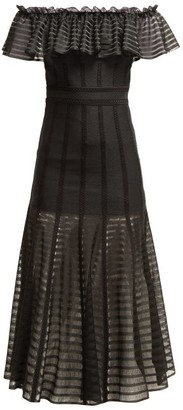 Alexander McQueen Off The Shoulder Stripe Knitted Midi Dress - Womens - Black