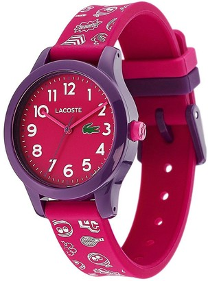 Lacoste Pink and Purple Dial Pink and White Print Silicone Strap Kids Watch