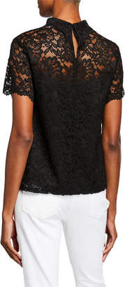 Laundry by Shelli Segal Lace Mock-Neck Illusion Top
