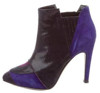Aperlaï Embossed Suede Ankle Boots