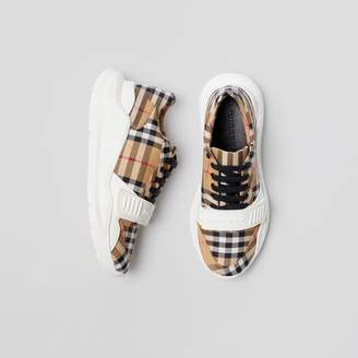 Burberry Vintage Check Cotton Sneakers , Size: 39, Yellow