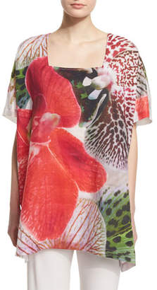 Caroline Rose Short-Sleeve Tropical Orchid-Print Caftan