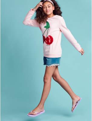 George Pink Sequin Cherry Sweatshirt