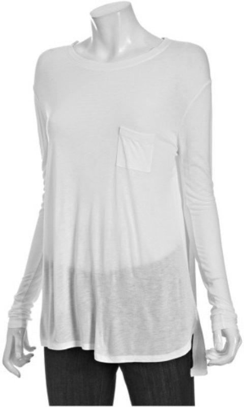 Vince white jersey long sleeve pocket crewneck t-shirt