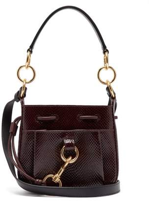 See by Chloe Tony Small Python Effect Leather Bucket Bag - Womens - Burgundy