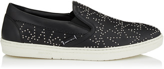 Jimmy Choo GROVE Black Leather Slip On Trainers with Silver Mini Star Studs