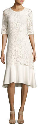 See by Chloe Lace Half-Sleeve Peplum-Hem Midi Dress