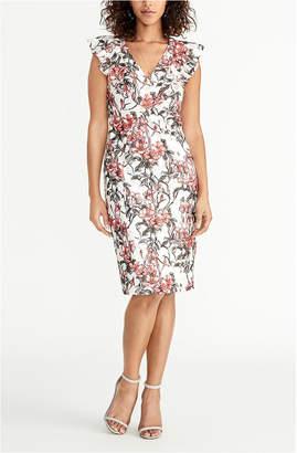 Rachel Roy Sleeveless Printed Lace Ruffle Front Dress