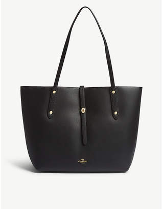 Coach Black and True Red Market Leather Tote Bag
