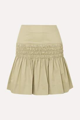 Etoile Isabel Marant Oliko Smocked Cotton-poplin Mini Skirt - Beige