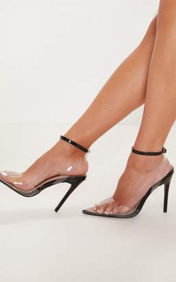 PrettyLittleThing Black Clear Ankle Strap Court Shoe