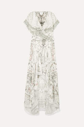 Camilla Asymmetric Embellished Printed Silk Wrap Maxi Dress - White