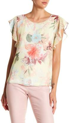 Vince Camuto Faded Bloom Chiffon Overlay Blouse