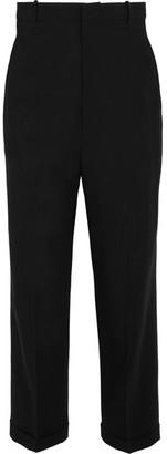 Cropped Wool-crepe Tapered Pants - Black
