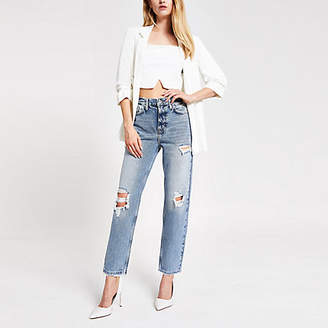 River Island Mid blue straight ripped jeans