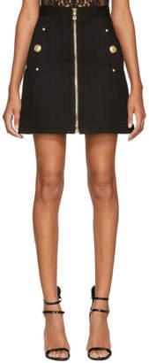 Balmain Black Trapeze Denim Miniskirt