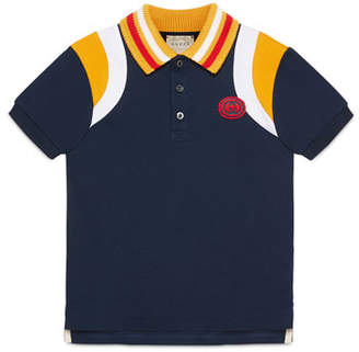 Gucci Colorblock Polo Shirt w/ Knit Collar, Size 4-12