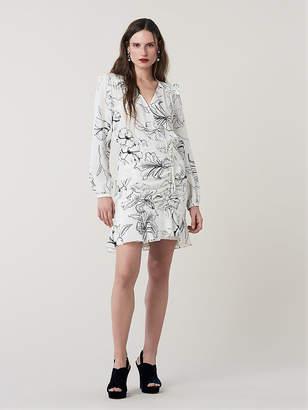 Diane von Furstenberg Seline Ruffled Silk Mini Dress