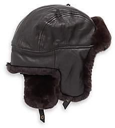 Crown Cap Men's Sheared Rabbit Aviator Hat