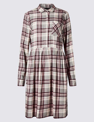 Marks and Spencer PETITE Checked Long Sleeve Drop Waist Dress