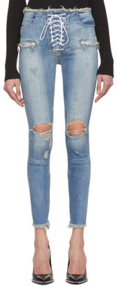 Unravel Indigo Lace-Up Skinny Jeans