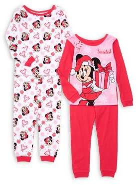 AME Sleepwear Little Girl's Four-Piece Cotton Pajama Tops & Pants Set