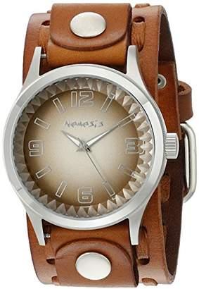 Nemesis Men's 217LBTK-B Brown Gradient Pointium Series Brown Wide Weaving Leather Cuff Band Analog Display Japanese Quartz Brown Watch