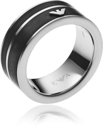 Emporio Armani Black Stainless Steel Signature Men's Ring