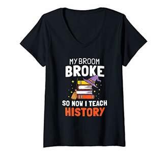 b-ROOM Womens My broom broke so now I teach History Teacher Halloween V-Neck T-Shirt