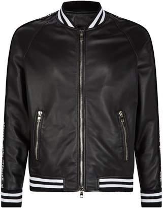Balmain Leather Logo Tape Bomber Jacket