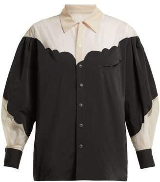 Toga Panelled Tulle And Taffeta Blouse - Womens - Black