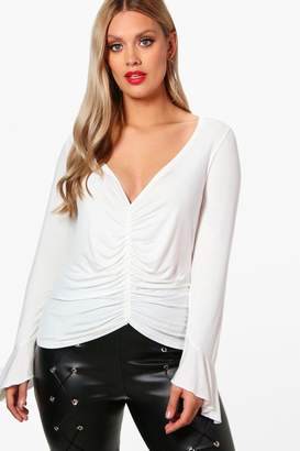 boohoo Plus Ruched Frill Detail Top