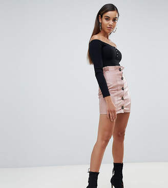 Missguided Leather Look Button Down Skirt