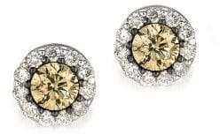LeVian Chocolatier Vanilla Diamonds, Chocolate Diamonds and 14K Vanilla Gold Earrings