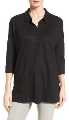 Women's Eileen Fisher Classic Collar Linen Jersey Tunic $168 thestylecure.com