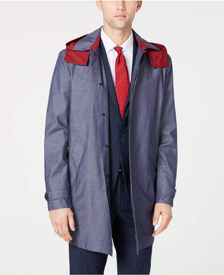 Tommy Hilfiger Men Wolf Modern-Fit Raincoat with Removable Hood