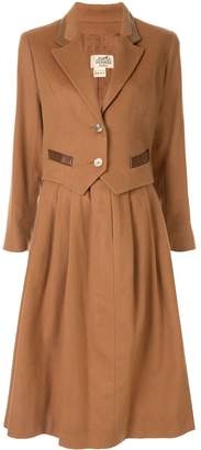 Hermes Pre-Owned logo button skirt suit